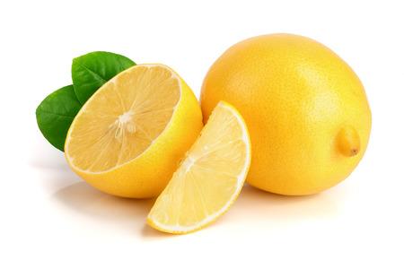 lemon and slice with leaf isolated on white background. Stock Photo