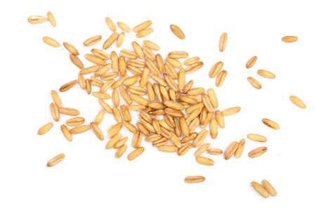 oat grains isolated on white background. Top view. Flat lay.