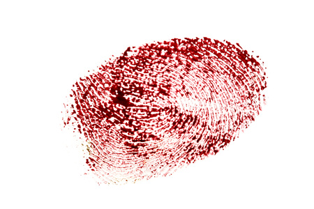 Bloody fingerprint isolated on a white background. Banco de Imagens