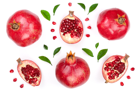 pomegranate with leaves isolated on white background. Top view. Flat lay pattern Stok Fotoğraf - 96239890