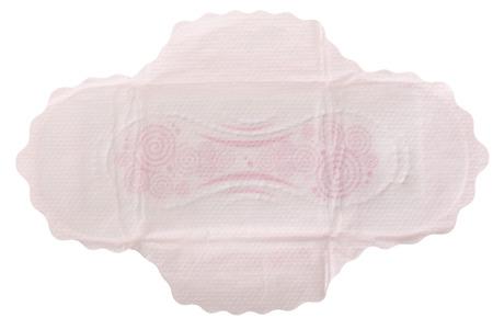 Sanitary napkin isolated on white background. Top view Stock Photo