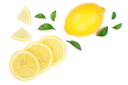 lemon and slices with leaf isolated on white background with copy space for your text. Flat lay, top view. Stock Photo