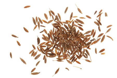 Cumin or caraway seeds isolated on white background. Top view.