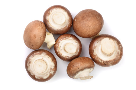 Fresh champignon mushrooms isolated on white background. Top view. Flat lay.