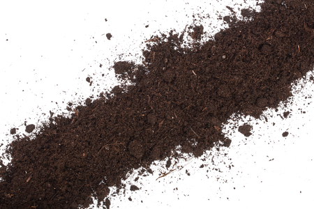 Pile heap of soil isolated on white background with copy space for your text. Top view. Stok Fotoğraf - 96685742