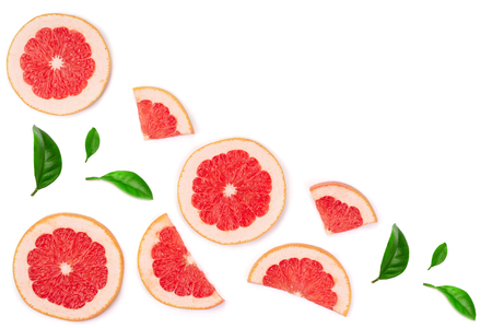 Grapefruit slices with leaves isolated on white background with copy space for your text. Top view. Flat lay pattern.