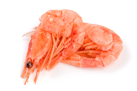 Red cooked prawn or shrimp isolated on white background.
