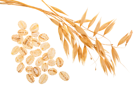 oat spike with oat flakes isolated on white background. Top view 스톡 콘텐츠