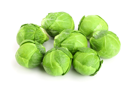 Brussels sprouts isolated on white background closeup.