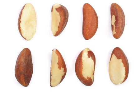 Brazil nuts isolated on white background closeup. Top view. Flat lay.