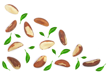 Brazil nuts isolated on white background closeup with copy space for your text. Top view. Flat lay.