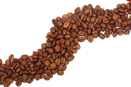 Coffee beans isolated on white background with copy space for your text. top view.