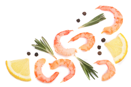 Red cooked prawn or shrimp with rosemary and lemon isolated on white background with copy space for your text. Top view. Flat lay.