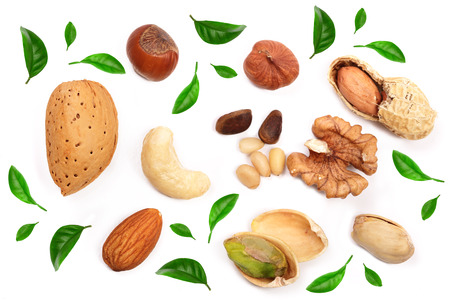 mixed of nuts decorated with green leaves isolated on white background. Almonds, cashews, peanuts, hazelnuts, pine nuts walnuts