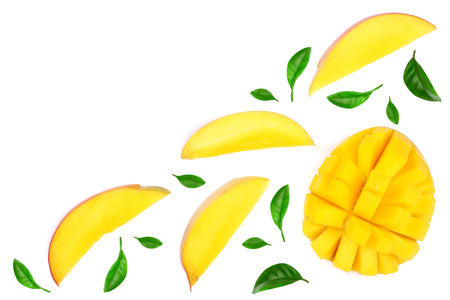 Mango fruit and slices decorated with leaves isolated on white background with copy space for your text. Top view. Flat lay. 版權商用圖片