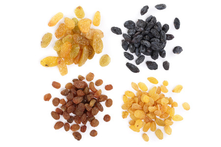 Collection of raisins isolated on a white background. Top view. Flat lay.