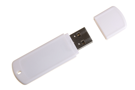 USB Flash Drive isolated on white background. Top view.