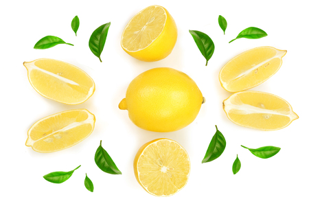 lemon and slices with leaf isolated on white background. Flat lay, top view. Stock Photo