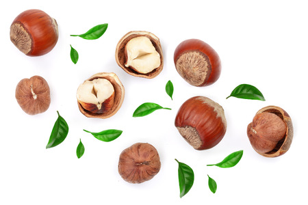 Hazelnuts with leaves isolated on white background. Top view. Flat lay. Stock Photo