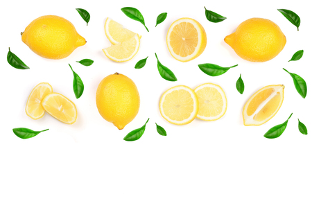 Lemon decorated with green leaves isolated on white background. Seamless pattern with fruits with copy space for your text. . Top view. Flat lay.