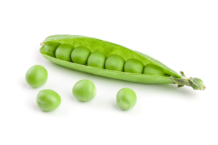 Fresh green pea pod isolated on white background.