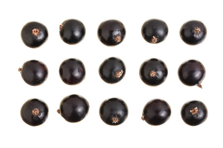 black currant isolated on white background. Top view. Flat lay pattern. Set or collection. Reklamní fotografie