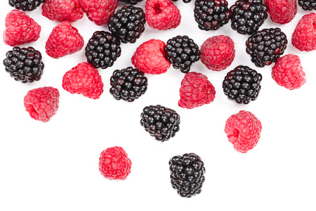 blackberry and raspberry isolated on white background. Top view. Flat lay pattern. Reklamní fotografie - 105796211