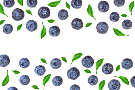 fresh ripe blueberry isolated on white background with copy space for your text. Top view. Flat lay pattern. 写真素材