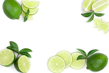sliced lime with leaves isolated on white background with copy space for your text.. Top view. Flat lay pattern.