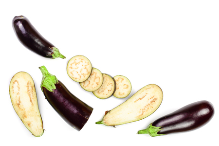 eggplant or aubergine isolated on white background with copy space for your text. Top view. Flat lay pattern.