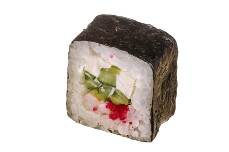 sushi roll isolated on white background without a shadow. Archivio Fotografico