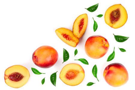 ripe nectarine with leaves isolated on white background with copy space for your text. Top view. Flat lay pattern. 版權商用圖片 - 107314161