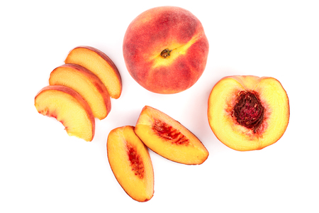ripe peaches isolated on white background. Top view. Flat lay pattern.