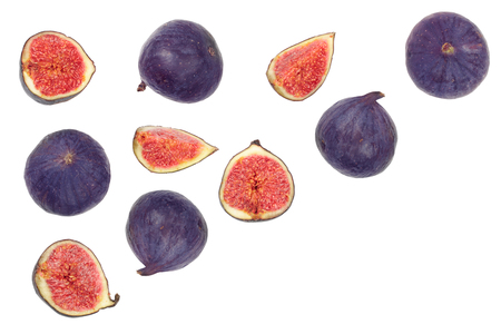 fig fruits isolated on white background with copy space for your text. Top view. Flat lay pattern. 写真素材