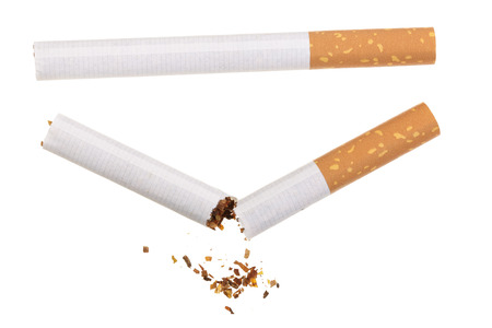 cigarette isolated on white background. Top view.
