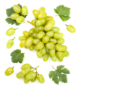 green grapes isolated on the white background with copy space for your text. Top view. Flat lay pattern.