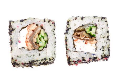 sushi roll isolated on white background without a shadow. 스톡 콘텐츠