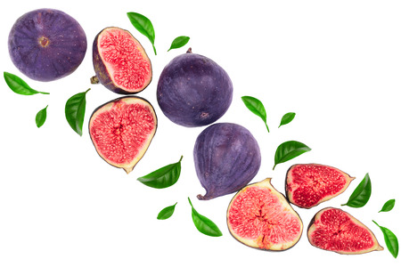 fig fruits with leaves isolated on white background with copy space for your text. Top view. Flat lay pattern. 免版税图像