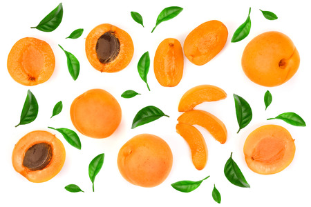 Apricot fruits isolated on white background macro. Top view. Flat lay pattern.