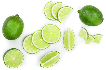 sliced lime isolated on white background. Top view. Flat lay pattern. Imagens