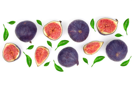 fig fruits with leaves isolated on white background with copy space for your text. Top view. Flat lay pattern. 版權商用圖片