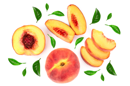 ripe peaches with leaves isolated on white background. Top view. Flat lay pattern.