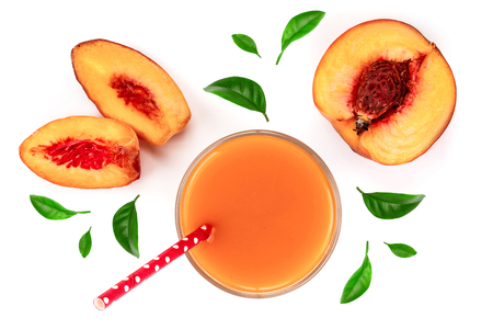 peach juice with leaves isolated on white background. Top view. Flat lay pattern.