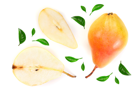 Three ripe red yellow pear fruits with leaf isolated on white background. Top view. Flat lay pattern.