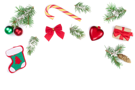 Christmas background with fir branches and decoration isolated on white background with copy space for your text. Top view. Flat lay. 免版税图像