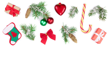 Christmas background with fir branches and decoration isolated on white background with copy space for your text