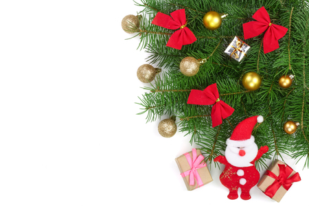 Christmas background with balls and decorations isolated on white with copy space for your text. Top view