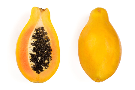 ripe papaya and half isolated on a white background. Top view. Flat lay