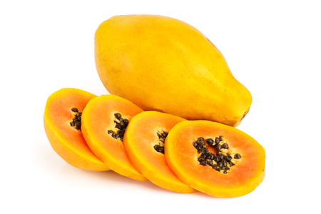 ripe slice papaya isolated on a white background