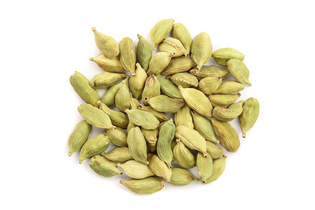 Green cardamom seeds isolated on white background. Top view. Flat lay 写真素材